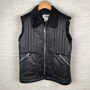 Joseph Ribkoff Faux Leather Fleece Quilted Vest